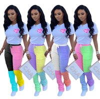 Womens Designer Stacked Leggings Pants Contrast Color Printe...