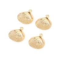 Ventas al por mayor 100pcs / Placa Lote aliado Oro de Shell del encanto de la pulsera del collar de bricolaje Accesorios joyería que hace