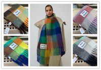 Acne Studios alta calidad de 4 colores de lana bufanda nueva rejilla de arco iris con flecos para hombres y mujeres Tamaño de la bufanda: 33 * 280 cm