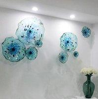 Пользовательские лампы Murano цветочные лампы плиты Искусства Blue Color Роскошные 100% Ручной вручную Стекло Висит Плиты Scallop Край