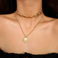 Metal Shell Necklace Silver Gold Shell Choker Necklace Multi...