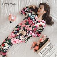 Temmuz ŞARKISI Kadınlar Pijama Sahte İpek Pijama Saten Pijama Takımı Çiçek Print Uzun Kollu 2 Adet Sonbahar Kış Homewear CX200703