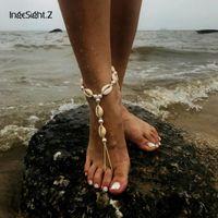Braccialetto della cavigliera della boemia del braccialetto del braccialetto simulato dei monili del piede della perla Spiaggia di sandali a piedi nudi della caviglia per le caviglie delle donne