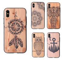 Деревянный шаблон дизайна гибридный ТПУ + ПК телефон чехол для iPhone XS MAX XR Деревянная резная печать протектор печати задняя крышка для iPhone X 8 7 6 Plus