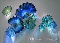 Современные ручные выдувные Планшеты Цветные стеклянные стены искусства муранского стекла Средиземноморский стиль Синий Тарелки Гобелен Hotel Home Decoration