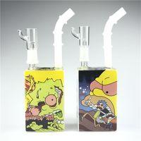 Neue bunte Hitman-Glasbong-Flüssig-SCI-Saft-Box-DAB-Rigs mit 14mm 7,5-Zoll-dickem, hinteren Glasbecherbongs für das Rauchen