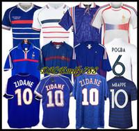 1998 camisas de futebol 2002 FRANÇA RETRO VINTAGE ZIDANE HENRY MAILLOT 1996 2004 camisa de futebol Jerseys Trezeguet afastado finais 2006 branco 2000