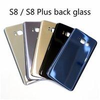 Pour Samsung S8 S8 plus la couverture de couverture arrière de remplacement de verre boîtier arrière grand trou avec des autocollants