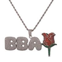 New Style Custom Brief Name mit Rose Blume Anhänger Halskette mit Seil Kette Charme Männer CZ Hip Hop Schmuck Mit Gold Silber Tennis Kette