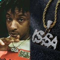 Hip Hop Iced Out Letter Issa Wisiorek Naszyjnik Dwa Tone Plated Mens Bling Bling Biżuteria Prezent