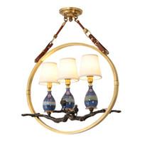 Americana ciondolo epoca rame lampade a LED paralume in tessuto sala da pranzo ceramica ciondolo illuminazione ciondolo retrò Lampadari luci infissi