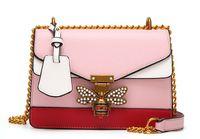 뜨거운 판매 여성 어깨 가방 대비 컬러 접합 리틀 꿀벌 가방 패션 디자이너 핸드백 캐주얼 어깨 PINK 메신저 가방 골목 팜므