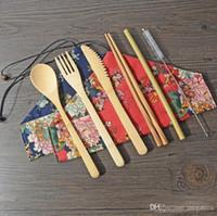 2019 Portable Couteau de pique-nique naturel réutilisable paille fourchette cuillère Chopstick Ustensile bambou Couverts en gros