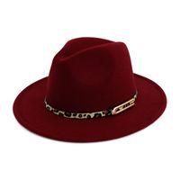 Lady Panama Fedoras Yün Keçe Geniş Brim Caz Fötr Şapkalar Kadınlar için Fötr Derby Kumarbaz Şapka Leopar Baskı Deri Toka ile