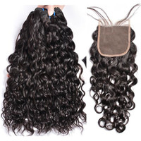 8A Mink Peruvian Virgin Hair With Closure Extensions 3 Bundles Brazilian Water Wave Hair With 4x4 Lace Closure Remy Human Hair Weave