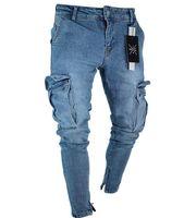 2019 Yırtık kot Kaliteli Streç erkek Kot Eğilim Diz Delik Fermuar Ayak Pantolon Toptan Perakende Ayak elastik pantolon S-4XL