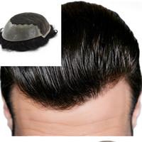 Schweizer Spitze mit Hauttoupee Q6 Basis Männer toupee menschliches remy haar 8 * 10 cm # 1b Herren Haarteile Verschiedene Farbersatzsystem für Männer
