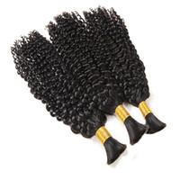 3 번들 브라질 변태 곱슬 묶음 번들 인간의 꼰 머리 대량 벌크 없음 곱슬 인간의 머리카락 묶음 remyi 머리 확장
