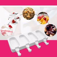 4Cell Gefrorenes Eis Pop Mold Küche Eis am Stiel-Maschine Lolly-Kuchen-Form-Behälter Pan