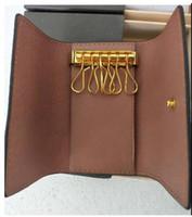 Designer-Key Holder femmes et Key Wallet Mens 100% Véritable sac en cuir KEYs porte-clés Marque Nouveau portefeuille 6 clés Porte-Drop Shipping gratuit