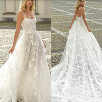2019 Luxury Beach Wedding Dresses A Line Spaghetti Lace Appl...