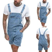 2019 Summer Fashion Men Jean Overalls Casual Jumpsuit Jeans Wash Pocket Men Denim Suspender Pantalones Moda Streetwear Nuevo
