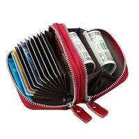 Double Layer Cow Leather Credit Card Holder Case Bag Cash Wallet For Women Men