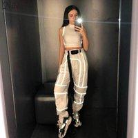 Nibber Spring Reflective Pantalones de carga Mujeres Casual Harem Pants 2020 Hot Black Sweachs Ladies Cinturón salvaje Decoración de desgaste activo