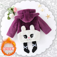 Baby Girls Clothing Cartoon Embroidered Rabbit Coat Thickeni...