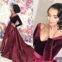 2020 Seksi Bölünmüş Bordo Arapça Abiye Uzun Kollu Bir Çizgi Örgün Özel Durum Balo Elbisesi Vestidos De Fiesta de Noche BC2791