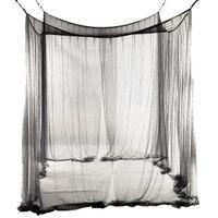 4-Corner Bed Netting Canopy Moskitonetz für Queen / King-Size-Bett 190 * 210 * 240 cm (schwarz) Bed Vorhang Raumdekoration