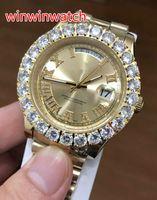 43 MM büyük elmas otomatik erkek saatler ÜST kalite altın paslanmaz çelik sarı altın arama moda Elmas İzle ücretsiz kargo