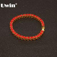 Uwin Iced Out 1 Row Tennis Armband Vollfarbig Rot / Blau / Schwarz Strass Gold Silber Farbe Mode Hiphop Armbänder Schmuck