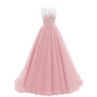 Elegant Puffy Lace Tulle Blush Bridesmaid Dresses Floor Leng...