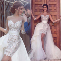Said Mhamad A Line Wedding Dresses Full Lace Illusion Long S...
