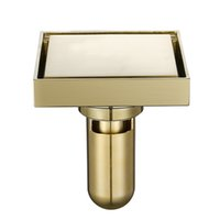 Mosiężna płytka wkładka kwadratowa odpadów podłogowych w łazience prysznic spustowy odpływ odpływu szczotkowane złoto Fltro Ducha Drain Hair Invisible