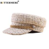 BUTTERMERE تويد موزع الصحف قبعة العلامة التجارية بيكر بوي هات السيدات شقة كاب بيج خريف وشتاء خمر اليابانية الفن هات