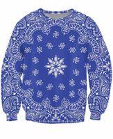 طباعة الأزرق باندانا crewneck البلوز الهيب هوب الشارع الشهير النساء أزياء ملابس الرجال البلوز القمم المتناثرة هوديس
