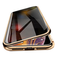 Para iPhone 11 Pro Max Magnetic Caso Privacidade metal Phone Case Coque 360 ​​Magnet Prevent-Peeping tampa do iPhone para X XR Xs