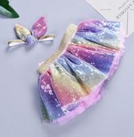 INS bébé sirène Jupes Sequin Tutu Pettiskirt Bandeau 2pcs Sets Kids Party Dancewear Bébés filles Vêtements S M L en option DHW2558
