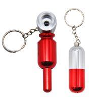 Mini poche porte-clés Tuyau Pill réservoir de gaz en forme de tuyaux en métal Smoking Herb Cigarette Handpipe Accessoires Rouge Bleu 6yh E1
