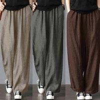 Los nuevos Mens suelta la pierna ancha ocasional de los pantalones del harem de la vendimia de algodón y lino pantalones color sólido ropa de los pantalones