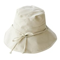 Women Solid Color Bucket Hat Bow Travel Outdoor Hat Cotton L...