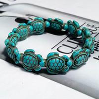 أزياء نمط السلاحف البحرية أساور الخرز للمجوهرات النساء الرجال الكلاسيكية الحجر الطبيعي مطاطا سوار الصداقة بيتش