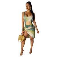 Tie Dye Print Sommer Bandage Kleider Frauen Spaghetti Strap Backless Paket Hip Kleid Sommer ausgeschnitten ärmellose Strand Minikleid NZK-1799