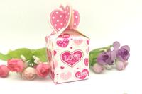 Toptan - 50 adet Pembe Kalp Aşk Düğün Kağıt Hediye Takı Şeker Kutusu Olay Parti Favor Kutusu
