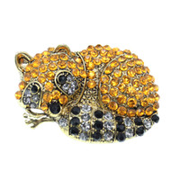 1pc klassische Art und Weise Brosche Schmuck Goldene Topaz Rhinestone-Kristall Waschbär Tier Pins Brosche für einen Mann oder eine Frau