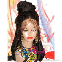 Полностью handtied косички заплетать волосы в косичках парика черные / коричневые / блондинке коробки косы цвета плетеного парик фронта шнурок с ребенком волосами для женщин Америки Африки
