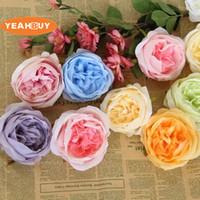 30 adet 10 CM Ipek Çin otsu şakayık Gül Çiçek Baş retro yapay Çiçekler DIY Düğün Duvar Kemer Dekorasyon malzemeleri