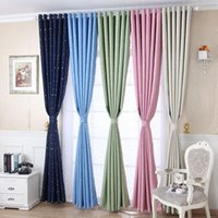 Shiny Stars Curtains For Bedroom Fashion Durable Drapes Blac...